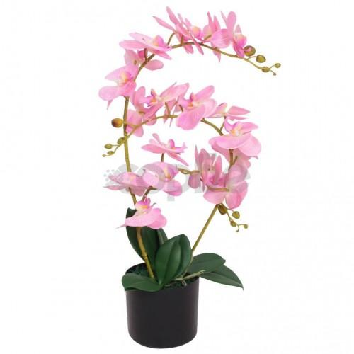 Изкуствено растение орхидея със саксия, 65 см, розова
