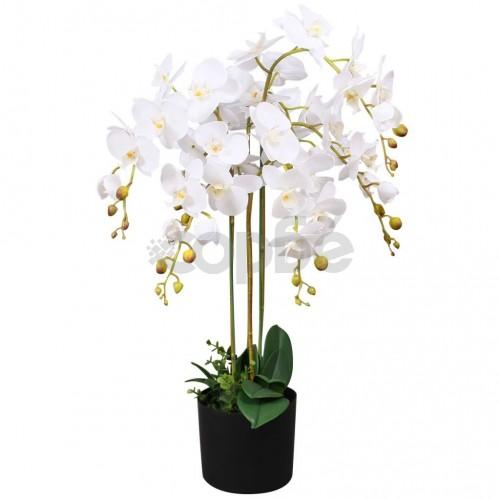 Изкуствено растение орхидея със саксия, 75 см, бяло