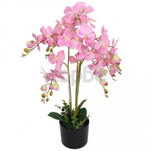 Изкуствено растение орхидея със саксия, 75 см, розова