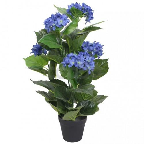 Изкуствено растение хортензия със саксия, 60 см, синя