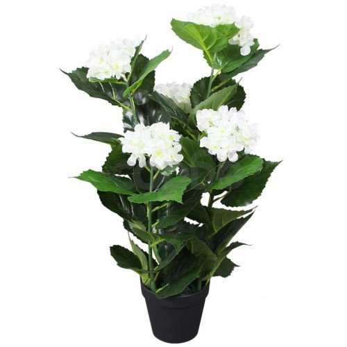 Изкуствено растение хортензия със саксия, 60 см, бяла