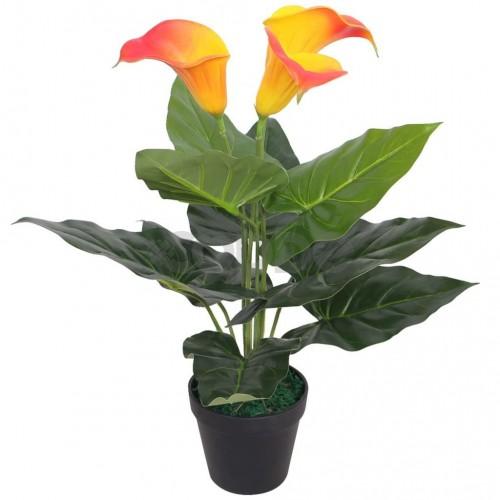 Изкуствено растение кала със саксия, 45 см, червено и жълто
