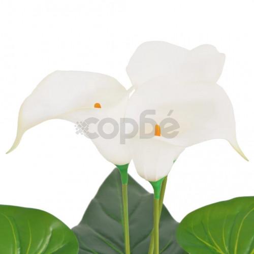 Изкуствено растение кала със саксия, 85 см, бяло