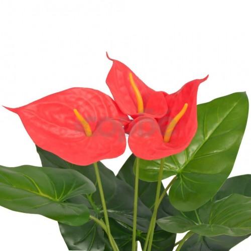 Изкуствено растение антуриум със саксия, 45 см, червено и жълто