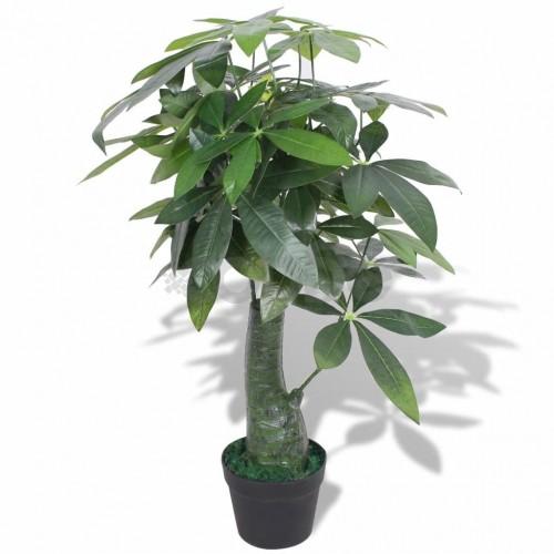 Изкуствено растение пахира със саксия, 85 см, зелено