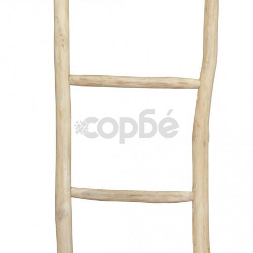Стълба за кърпи, 5 стъпала, тиково дърво, 45x150 cм, натурална