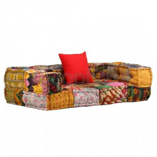 2-местен модулен диван с подлакътници, плат, пачуърк