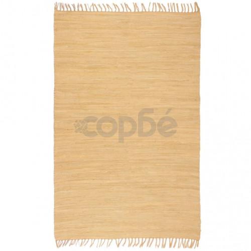 Ръчно тъкан Chindi килим, 80x160 см, бежов
