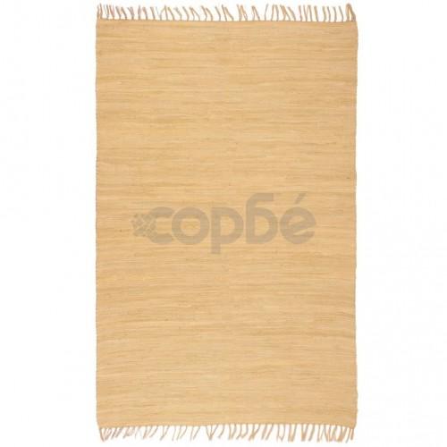 Ръчно тъкан Chindi килим, 160x230 см, бежов
