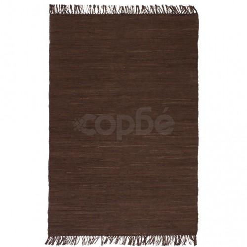 Ръчно тъкан Chindi килим, 160x230 см, кафяв