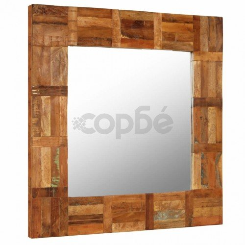 Огледало за стена, регенерирано дърво масив, 60x60 cм
