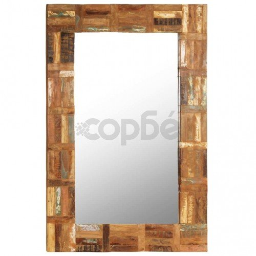 Огледало за стена, регенерирано дърво масив, 60x90 cм