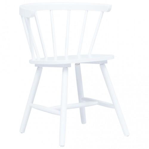 Трапезни столове, 4 бр, бели, каучуково дърво масив