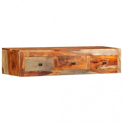 Конзолна маса със стенен монтаж, 100x25x20 см, шишам масив