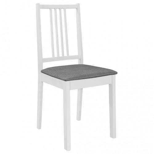 Трапезни столове с тапицерия, 4 бр, бели, масивна дървесина