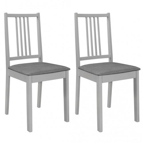Трапезни столове с тапицерия, 2 бр, сиви, масивна дървесина
