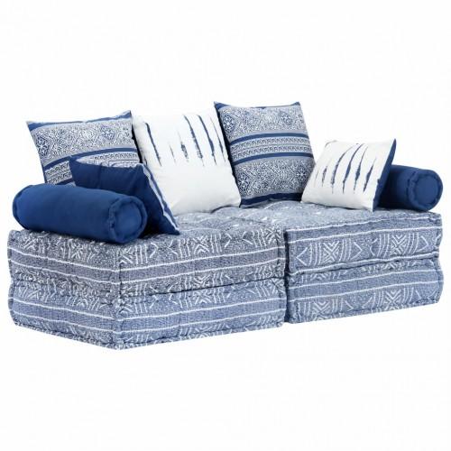 2-местен модулен диван легло, индиго, плат