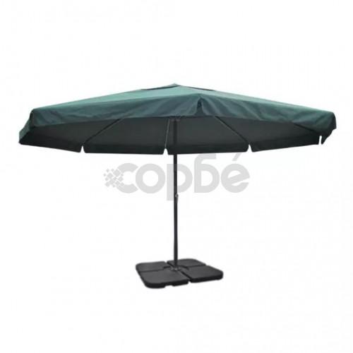 Градински чадър с алуминиева рамка, зелен и преносима стойка