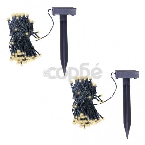LED соларни гирлянди, 2 бр, топла бяла светлина
