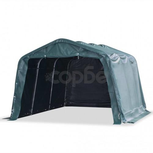 Мобилен навес за животни PVC 550 г/м² 3,3x4,8 м тъмнозелен