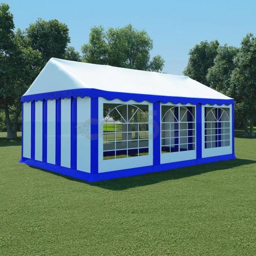 Градинска шатра, PVC, 4x6 м, синьо и бяло