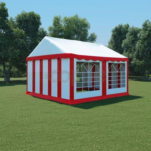 Градинска шатра, PVC, 4x4 м, червено и бяло