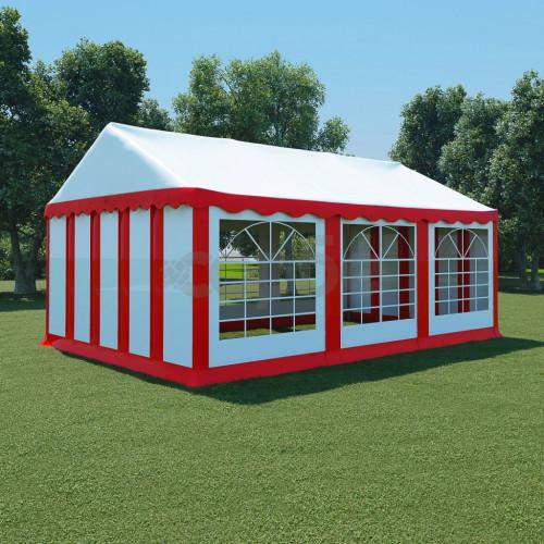 Градинска шатра, PVC, 4x6 м, червено и бяло