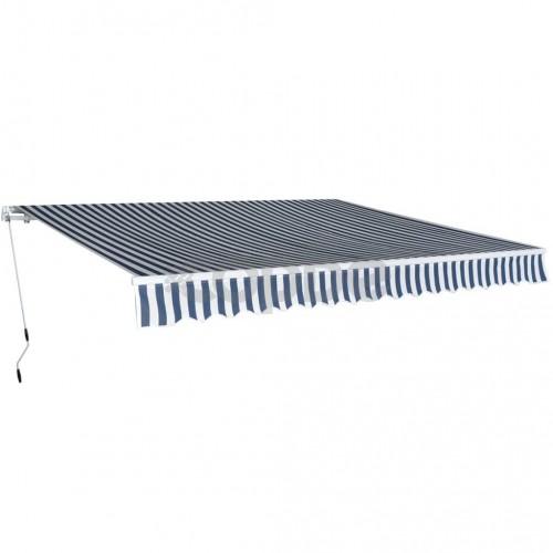Сгъваема тента с ръчно задвижване, 400 см, синьо/бяло