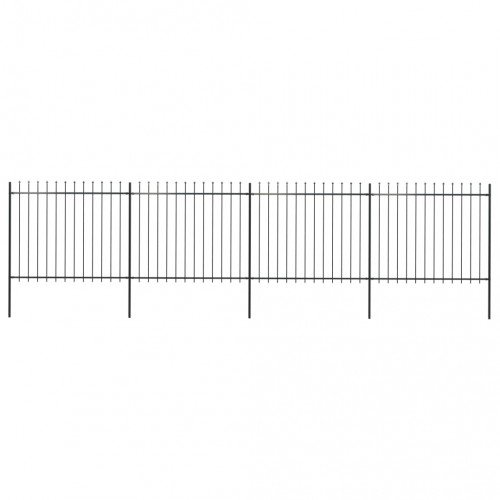 Градинска ограда с пики, стомана, 6,8x1,5 м, черна