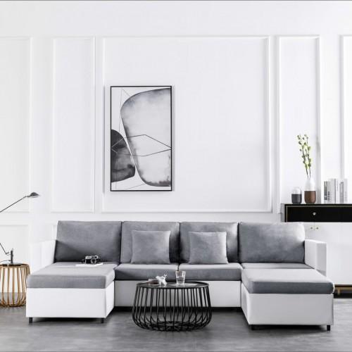 4-местен разтегателен диван, изкуствена кожа, бял