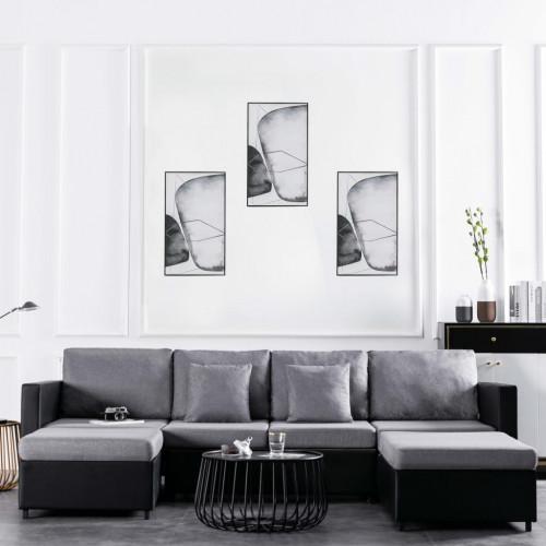 4-местен разтегателен диван, изкуствена кожа, черен