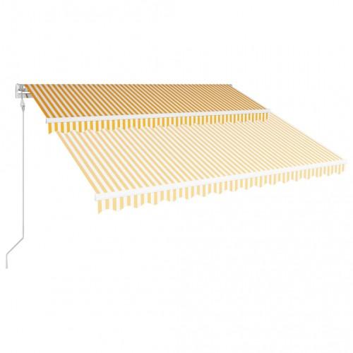 Автоматично прибиращ се сенник, 400x300 см, жълто и бяло