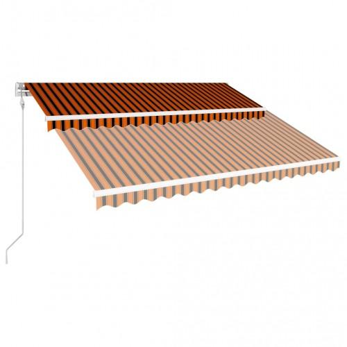 Автоматично прибиращ се сенник, 400x300 см, оранжево и кафяво