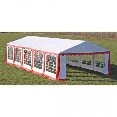 Покрив и странични панели за градинска шатра 10 х 5 м, червено и бяло