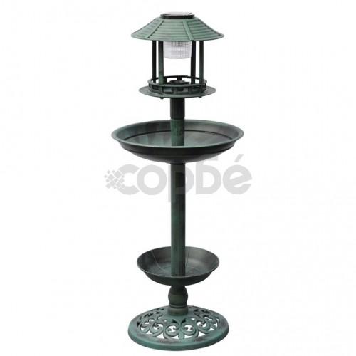 Вана за птици с хранилка и соларна лампа