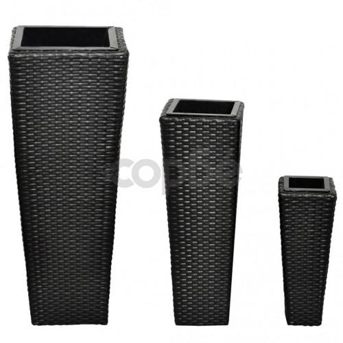 Ратанови кашпи, 3 броя, цвят черен