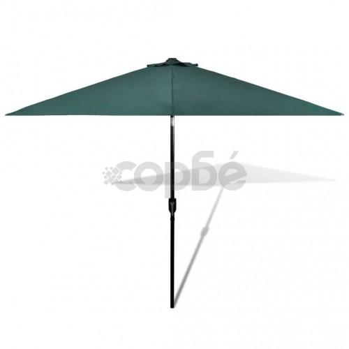 Чадър за слънце, 3м, зелен, стоманен прът