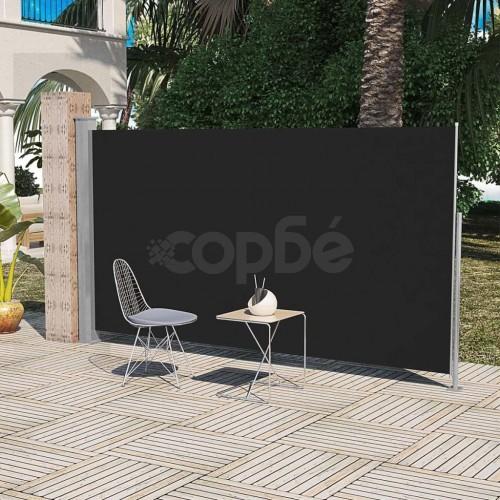 Странична тента за тераса, 160 x 300 см, черна