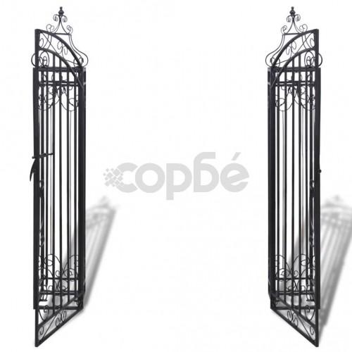 Градинска врата с орнаменти, ковано желязо, 122x20,5x134 см
