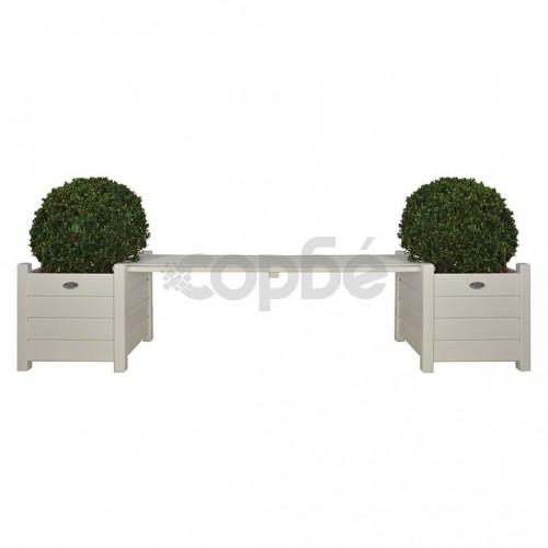 Esschert Design Сандъци за цветя с пейка-мост, бели, CF33W