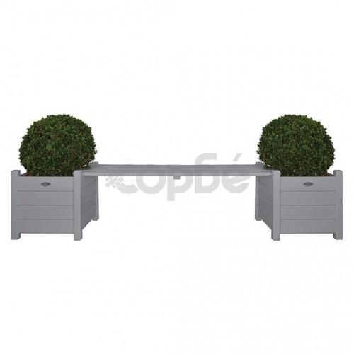 Esschert Design Сандъци за цветя с пейка-мост, сиви, CF33G