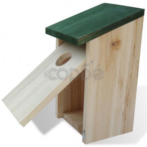 Къщи за птици, 4 бр, дърво, 12x12x22 см