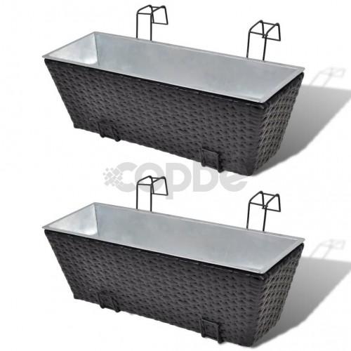 Трапецовидни ратанови сандъчета за балкон, черни, 50 см – 2 бр.