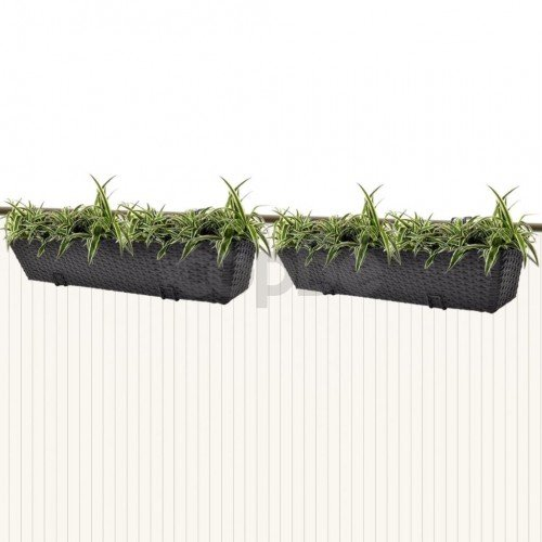 Трапецовидни ратанови сандъчета за балкон, черни, 80 см – 2 бр.