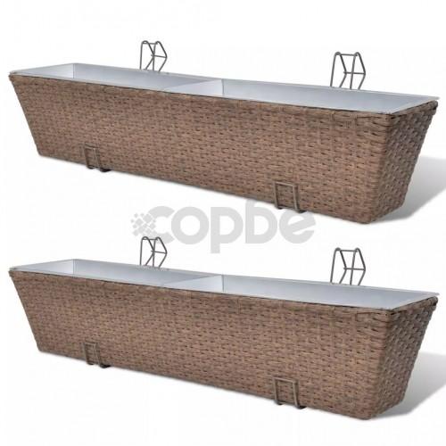 Трапецовидни ратанови сандъчета за балкон, кафяви, 80 см – 2 бр.