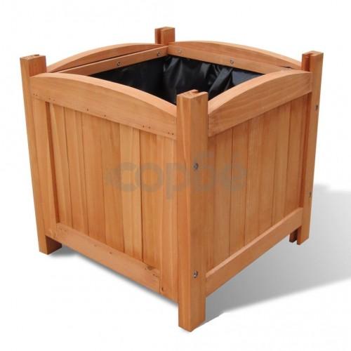Дървени повдигнати лехи, 30х30х30 см, комплект от 2
