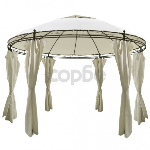 Кръгла шатра със завеси, 3,5 x 2,7 м