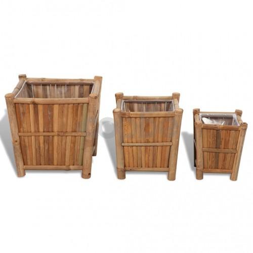 Бамбукови повдигнати лехи с найлонови вложки, 3 бр