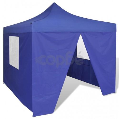 Сгъваема шатра 3 х 3 м, с 4 стени, синя