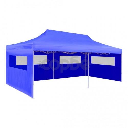 Сгъваема парти шатра, синя, 3 x 6 м